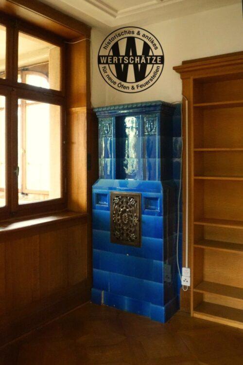 Art-Deco Kachelofen blau aus Neu St. Johann